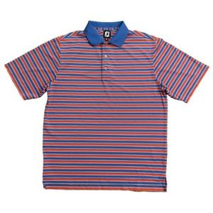 FootJoy FJ Golf Polo Shirt Striped Blue Red L